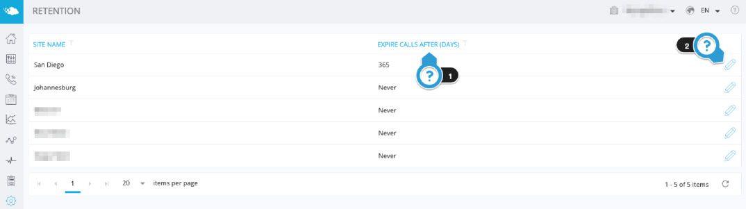 Call Recording Retention
