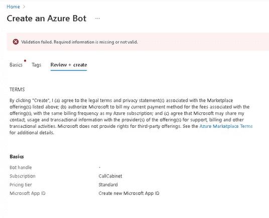 Bot Configuration Azure Bot Create